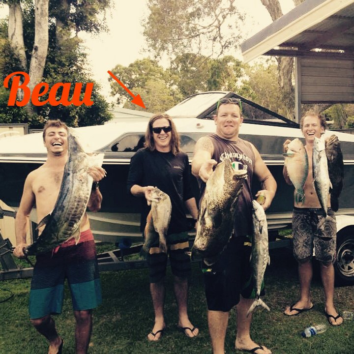 POS spearfishing crew (absent Jlow & Champ). Left to right Turbo, Beau, Shrek and Ben Harper. Beau Armstrong Interview