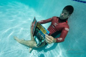 Ted Herty Immersion Freediving reading Spearing magazine. Noob Spearo Podcast interview