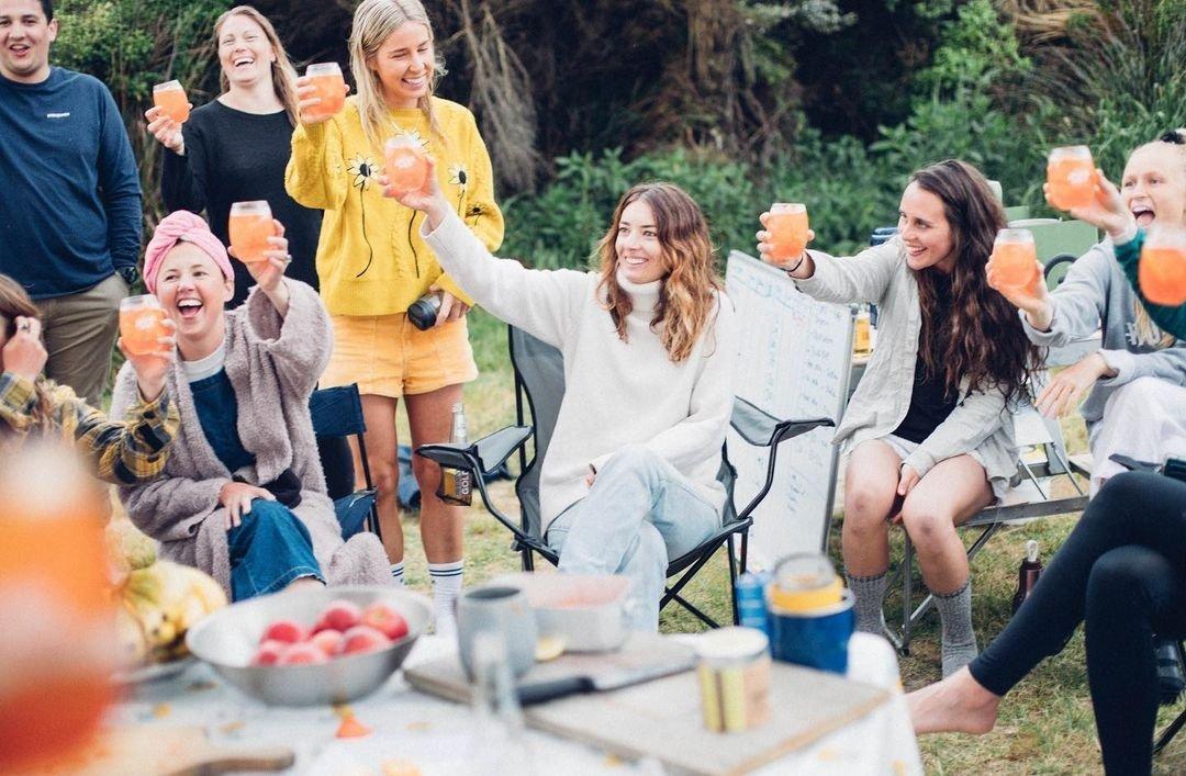 salt sisters laughing at camp